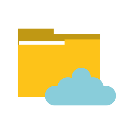 flat design file folder and cloud  icon vector illustration