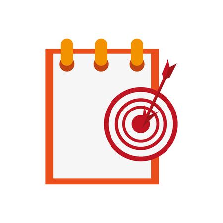 flat design notepad and bullseye  icon vector illustration Illustration