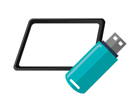 usb drive: flat design tablet and usb drive  icon vector illustration