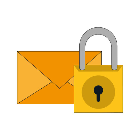 flat design message envelope and safety lock icon vector illustration Illustration