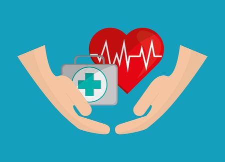 Herz Kardiogramm mit Ikonen Vektor-Illustration Krankenversicherung im Zusammenhang mit