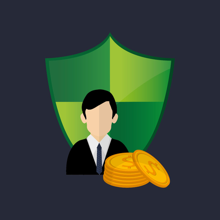 broker: shield with  insurance broker or agent and money image vector illustration