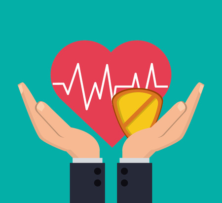 value system: heart cardiogram with health insurance related icons image vector illustration