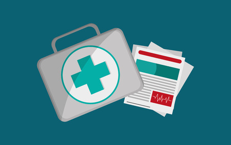 first aid kit with health insurance related icons image vector illustration Illustration