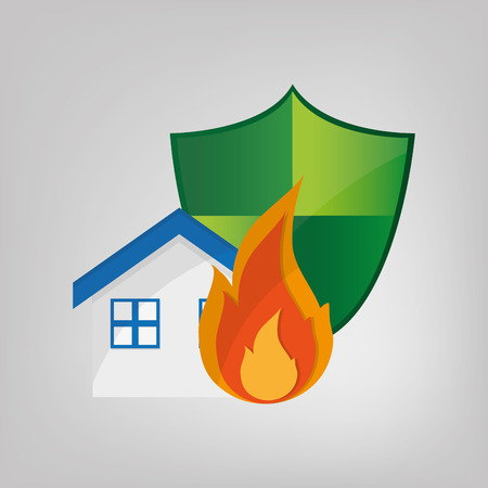 homeowners: shield and house with insurance services related icons image vector illustration