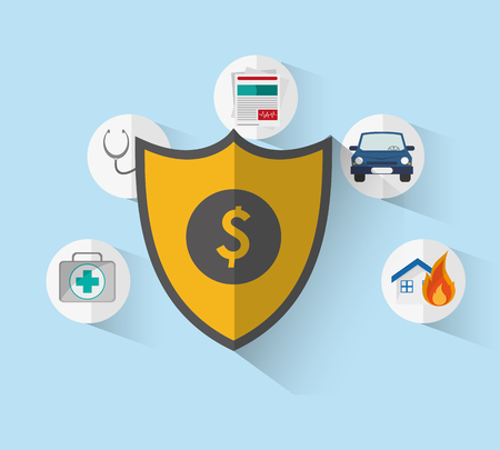 shiled: shield with insurance services related icons image vector illustration Illustration