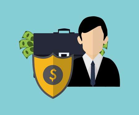 shield with  insurance broker or agent and money image vector illustration
