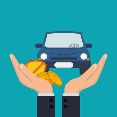 Beherbergung Hände mit Versicherungen Ikonen Vektor-Illustration im Zusammenhang mit