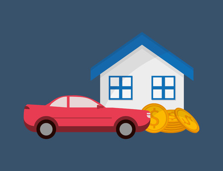 real state: flat design real state and car sale icons image vector illustration
