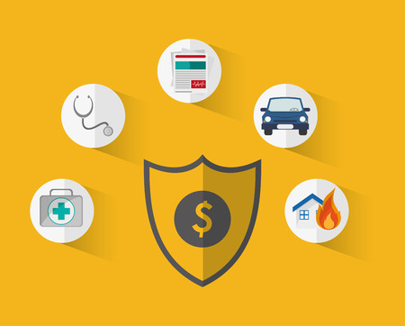shield with insurance services related icons image vector illustration Illustration