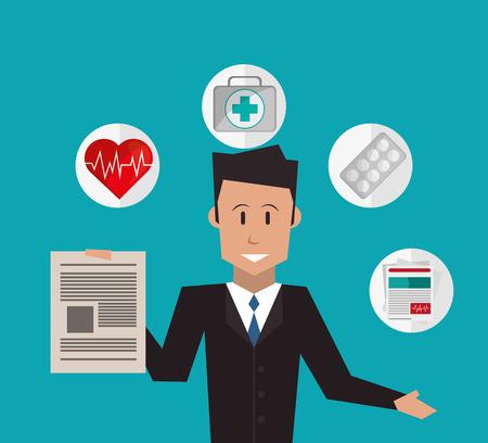 보험 중개인 또는 에이전트 및 서비스 이미지 벡터 일러스트 레이션