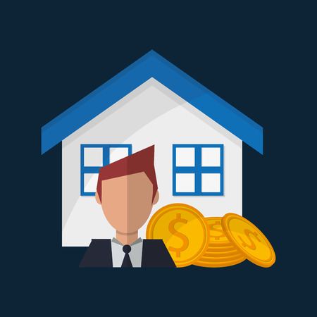 real state: house money and broker real state related icons image vector illustration