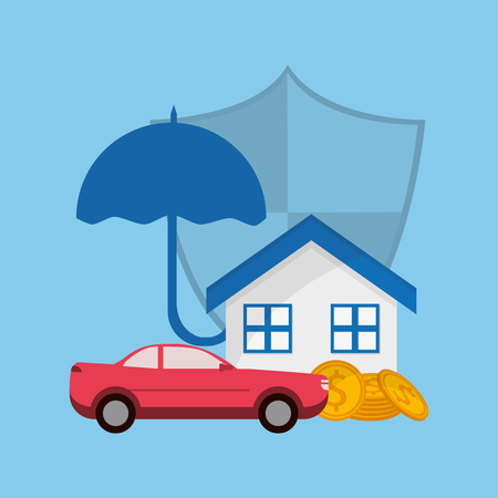 house car shield umbrella with money insurance services related icons image vector illustration
