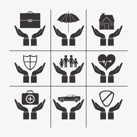 sheltering: sheltering hands with insurance services related icons image vector illustration