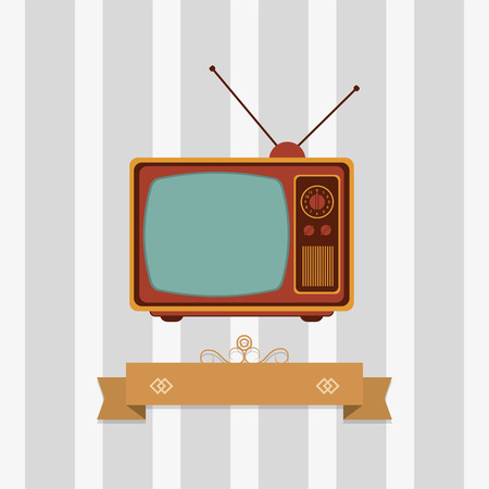 flat design retro tv emblem image vector illustration