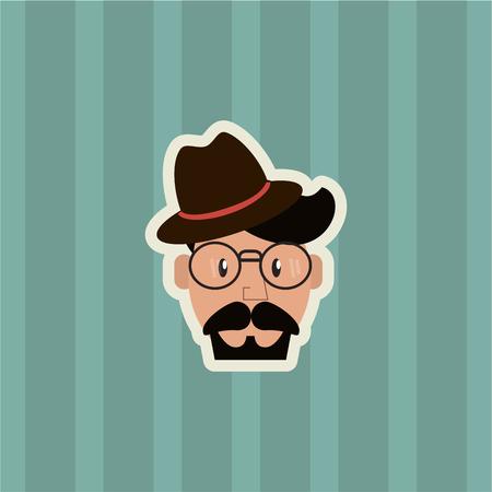 flat design hipster man emblem image with striped background vector illustration