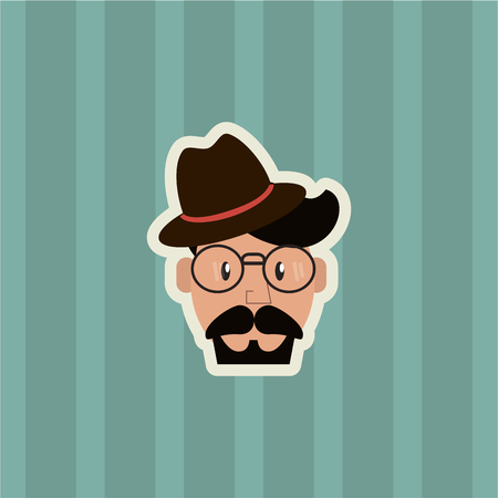 flat design hipster man emblem image with striped background vector illustration