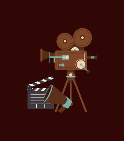 video shooting: flat design retro film projector and cinema related icons image vector illustration Illustration