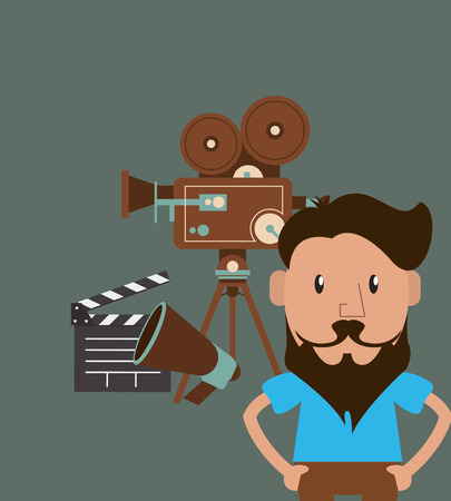 film projector: flat design hipster man and  retro film projector  image vector illustration Illustration