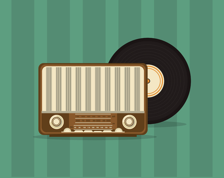 shortwave: flat design retro radio with vinyl record image vector illustration Illustration