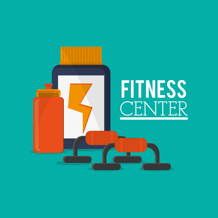 flat design protein supplement with fitness lifestyle related icons image vector illustration Illustration