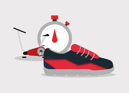 nutritional: flat design chronometer with fitness lifestyle related icons image vector illustration