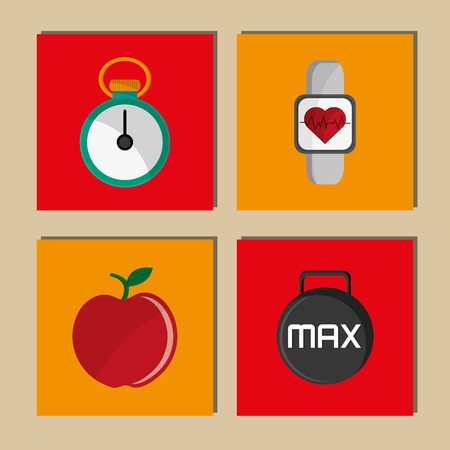 chronometer: flat design chronometer with fitness lifestyle related icons image vector illustration