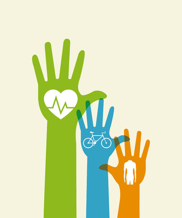 flat design fitness lifestyle related icons and raised hands image vector illustration