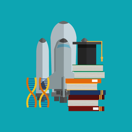 flat design space shuttle with science related icons image vector illustration