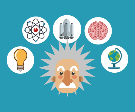 flat design albert einstein with science related icons image vector illustration