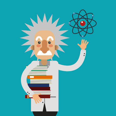 platte ontwerp Albert Einstein met de wetenschap gerelateerde pictogrammen vector illustratie