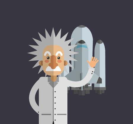 einstein: flat design albert einstein with science related icons image vector illustration