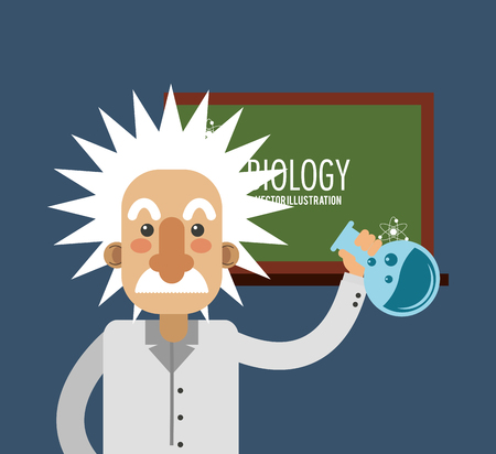 mathematician: flat design albert einstein with science related icons image vector illustration