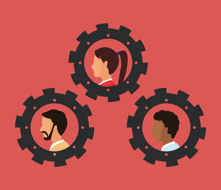 people and gears teamwork related icons image vector illustration design