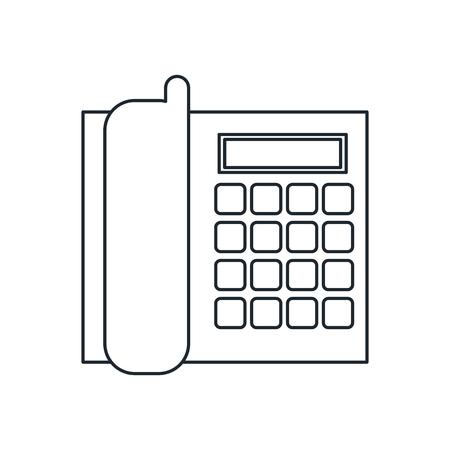 cable telefono: icono de teléfono por cable. La comunicación telefónica y el tema de la tecnología. diseño aislado. ilustración vectorial