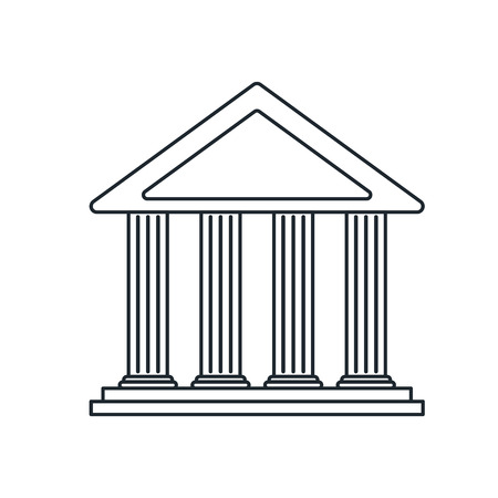 financial item: Bank building icon. Financial item commerce and market theme. Isolated design. Vector illustration Illustration