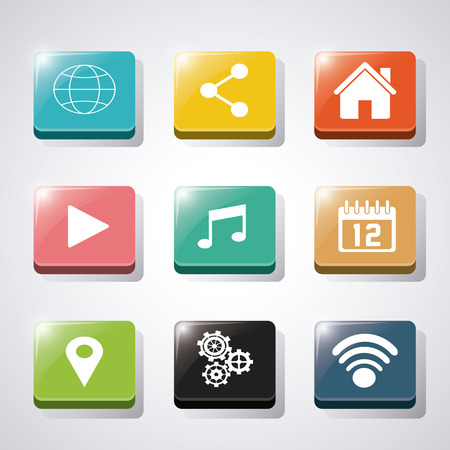 Apps And Frames Icon Set. Application Internet And Media Theme ...