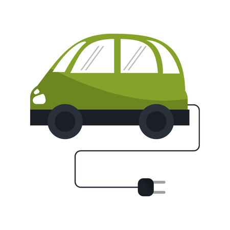eco car: Eco car with plug icon. Ecology renewable energy and conservation theme. Isolated design. Vector illustration