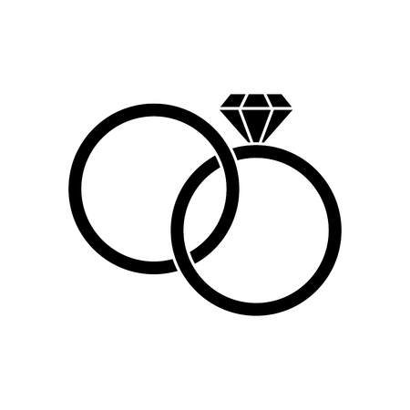 Rings icon. Wedding marriage love and celebration theme. Isolated design. Vector illustration