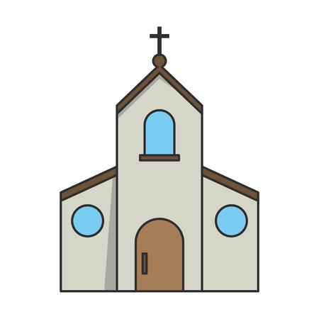 confession: Church building icon. Religion faith and confession theme. Isolated design. Vector illustration