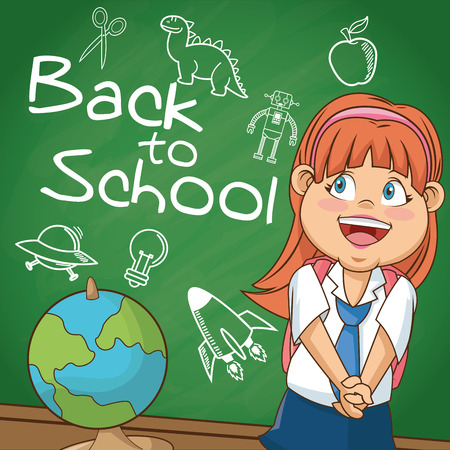 cartoon school girl: Girl cartoon student with supplies. Back to school education and childhood theme. Colorful design. Vector illustration