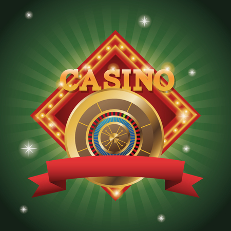 Gold roulette icon. Casino and las vegas theme. Colorful design. Vector illustration