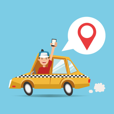 Cartoon man taxi car and smartphone. Gps navigator location travel and route heme. Colorful design. Vector illustration