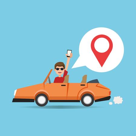 gps navigator: Cartoon man car and smartphone. Gps navigator location travel and route heme. Colorful design. Vector illustration