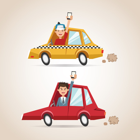 Cartoons men cars and smartphones. Gps navigator location travel and route heme. Colorful design. Vector illustration Illustration