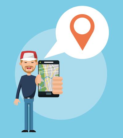Cartoon man and smartphone. Gps navigator location travel and route heme. Colorful design. Vector illustration Illustration