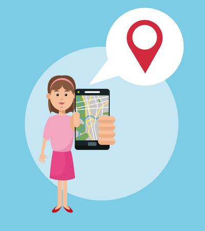 gps navigator: Cartoon woman and smartphone. Gps navigator location travel and route heme. Colorful design. Vector illustration