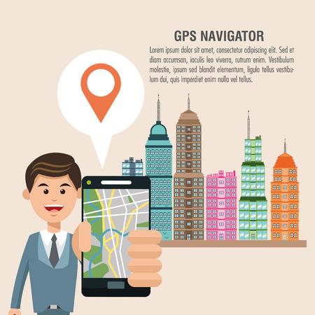 gps navigator: Cartoon man city and smartphone. Gps navigator location travel and route heme. Colorful design. Vector illustration