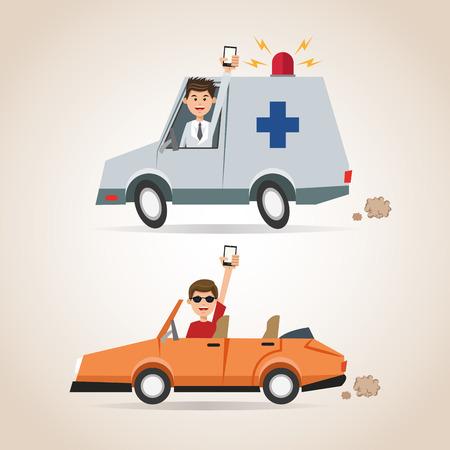 Cartoon man smartphone ambulance and car. Gps navigator location travel and route heme. Colorful design. Vector illustration