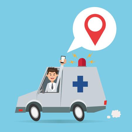 Cartoon man ambulance and smartphone. Gps navigator location travel and route heme. Colorful design. Vector illustration